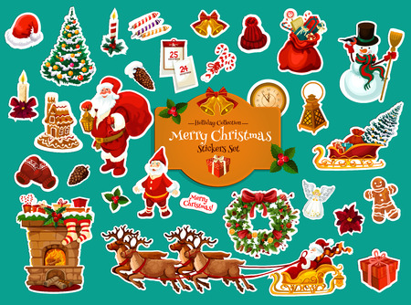 Christmas sticker set of Xmas and New Year winter holiday celebration. Santa, snowman and snowflake, gift, Xmas tree and holly wreath, ball, snow, candy and bell, star and deer sleigh label design