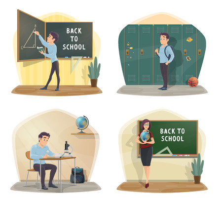 Back to school icons with class and student, geography teacher. Geometry lesson and triangle on blackboard. Hall with lockers, desk and globe, microscope for biology, backpack and basketball vector