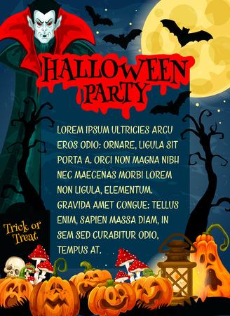 Halloween monster night party banner with horror vampire. October holiday pumpkin lantern, moon and bat, skeleton skull, cemetery gravestone and dracula for invitation flyer or festive poster design
