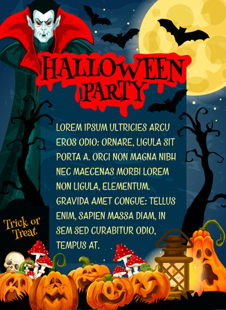 Halloween monster night party banner with horror vampire. October holiday pumpkin lantern, moon and bat, skeleton skull, cemetery gravestone and dracula for invitation flyer or festive poster design