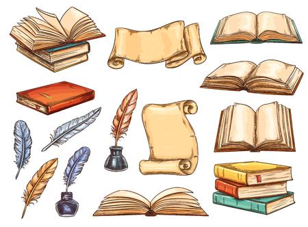 Oud boek en scroll met vintage veren pen en inkt schets set. Stapel retro boek en antiek perkament met lege pagina, kleurrijke ganzenveer en inktpot icoon voor onderwijs en literatuur thema's ontwerp Vector Illustratie