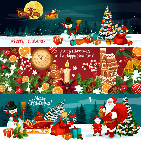 Christmas holiday banner of Xmas gift and New Year festive ornaments. Snowman, Santa and Xmas tree with bell, ribbon bow, holly berry and snowflake, candy, cookie and clock for greeting card design Vectores