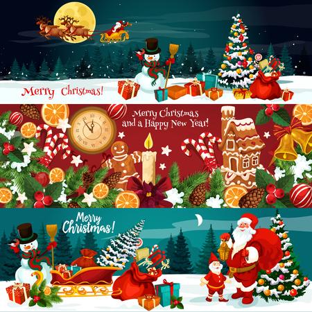 Banner de vacaciones de Navidad de regalo de Navidad y adornos festivos de año nuevo. Muñeco de nieve, Santa y árbol de Navidad con campana, lazo de cinta, baya de acebo y copo de nieve, dulces, galletas y reloj para diseño de tarjetas de felicitación