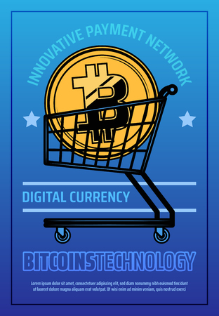 Digital money or cryptocurrency poster with supermarket cart and gold bitcoin. Modern way to earn through Internet, metal shopping trolley icon. Bitcoins technology, innovative payment network vector Ilustrace
