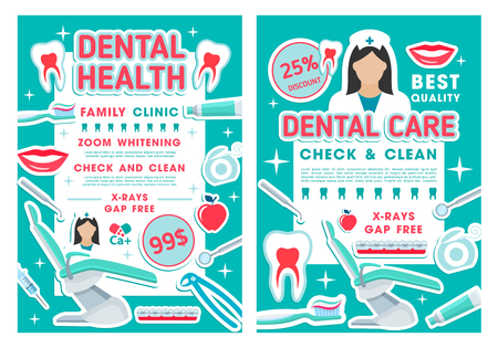 Tooth care discount offer posters for dental clinic or dentist office template. Caries treatment, oral hygiene and teeth whitening procedure promo banners with doctor tools, braces and floss