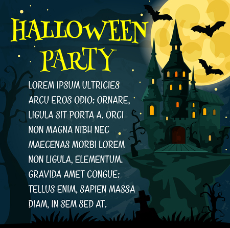 Halloween holiday festive poster with spooky ghost house for horror night party invitation template. Creepy castle, cemetery gravestone and bat promotion banner design with full moon on background