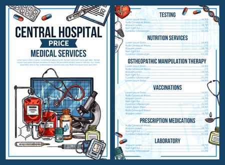 Liste de prix des services médicaux de l'hôpital central. Conception de croquis de vecteur de consultation médicale, diagnostic et tests, prescriptions de thérapie et de médicaments ou vaccination et traitement des maladies