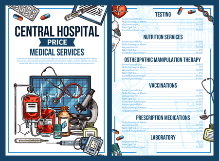 Medical services price list of central hospital. Vector sketch design of doctor consultation, diagnostic and tests, therapy and medications prescriptions or disease vaccination and treatment