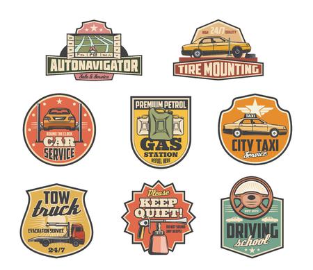 Iconos retro de servicio de coche para taxi o servicio de garaje automático. Mapa del navegador de vectores, montaje de neumáticos y montaje de gasolineras, grúas o camiones de auxilio y anuncios de escuelas de buceo o cartel de silencio