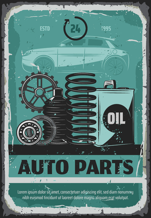 Auto spare parts mechanic or car repair service retro poster. Vector vintage design of automobile cogwheels or shock absorber springs and engine oil canister for garage station