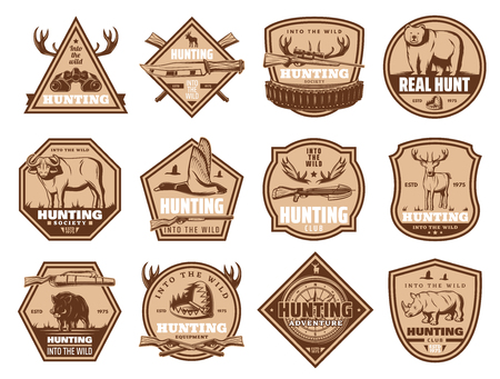 Hunting club or society badges of wild animals for hunt open season. Vector icons of hunter rifle gun, bear or elk and deer, aper hog or boar, duck and pheasant grouse and trap for buffalo ox