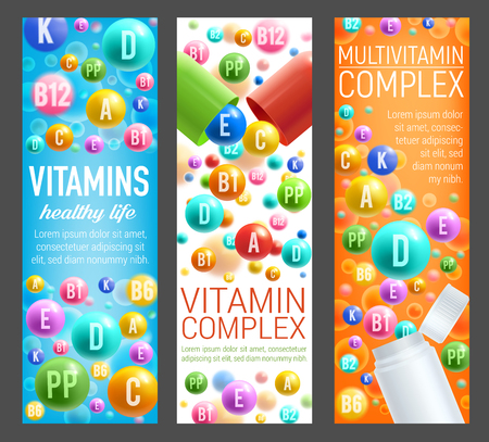 Vitamins and multivitamin complex banners for healthy lifestyle. Vector 3D pills, capsules and plastic bottles of dietary supplements, vitamins and mineral pills for pharmacy advertisement Foto de archivo - 107746120