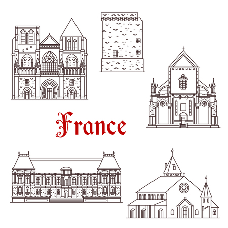 France landmarks and famous historic architecture buildings. Vector thin line facades of Saint Aubin or Pierre cathedral, Duchesne tower in Rennes, St Ulrich church and Brittany Parliament palace  イラスト・ベクター素材