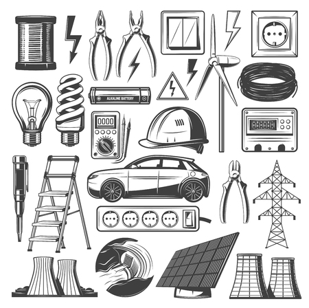 Energy and electricity sources icons. Vector power plant, lamp lightbulb or electro car and solar battery or windmill with electric reel and electrician tools of voltmeter, socket and fuse Illustration
