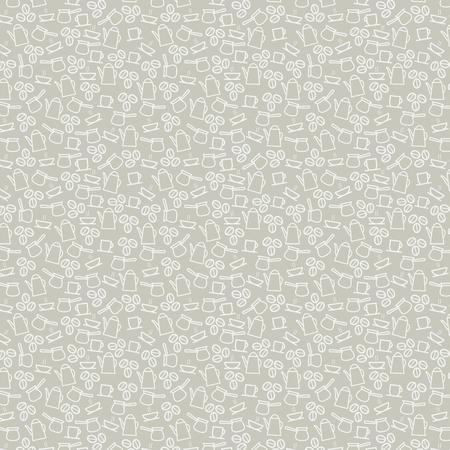 Koffiekopjes, bonen en maker patroon achtergrond voor keuken. Vector naadloze lijn kunst ontwerp van hete stoom van espresso, americano of cappuccino mokken chocolade voor café, cafetaria of koffiehuis Vector Illustratie