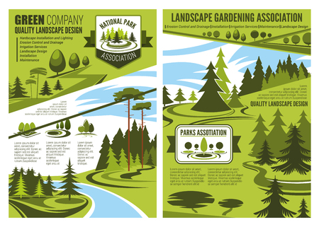 Landscape gardening association or horticulture design company poster or brochure. Vector eco landscaping design of forest trees or parkland squares and green parks for nature architect