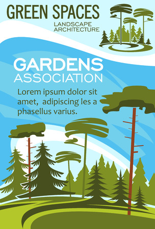 Gardens association poster for landscape design and horticulture gardening. Vector forest trees or parkland squares and green parks for nature architect company Ilustração