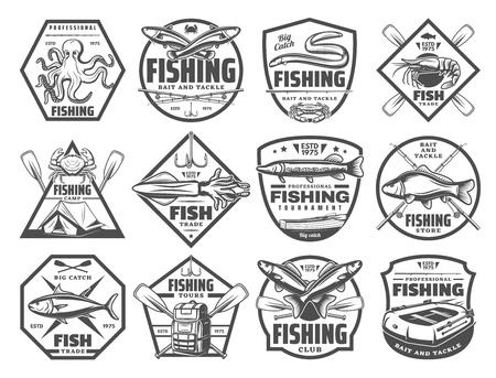 Angeln Retro Skizze Ikonen für Fischerclub oder Abenteuer. Vektorsatz von großen Fischen, großem Fang und Angelgeräten für Meeresfrüchte-Tintenfisch, Aal oder Makrele und Marlin oder Forelle und Lachs Vektorgrafik