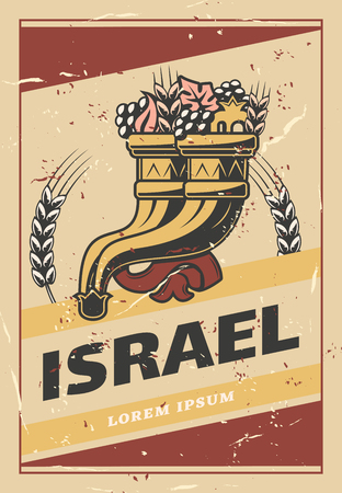 Israel retro poster of cornucopia or Judaism religious symbol, of abundance horn. Vector vintage design of Jewish Shofar with fruits and vegetables harvest for Israel travel Archivio Fotografico - 107746127