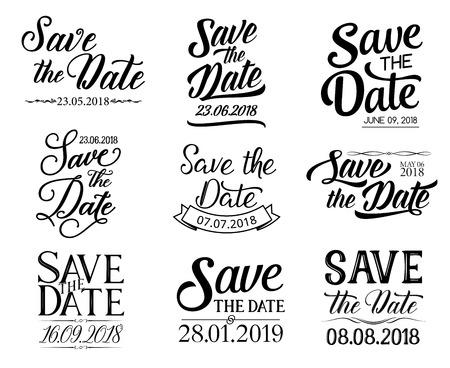 Guarde la fecha o la boda y las letras RSVP para tarjetas de felicitación e invitación. Diseño de caligrafía de dibujo vectorial y cintas adornadas para fiesta de compromiso