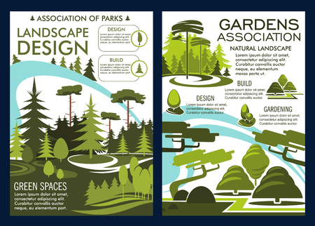 Landscape design and gardens association poster or brochure. Vector nature horticulture service for landscaping and gardening company of parklands or park trees in squares Иллюстрация