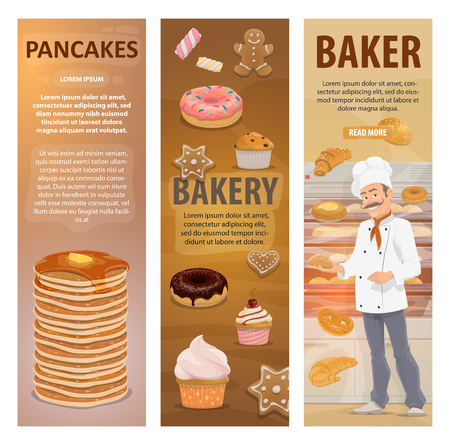 Baker and bakery shop or pastry in bakehouse. Vector design of baker man at work with baked bread, sweet desserts and pancakes, chocolate donuts and bagel loafs, baguette and croissant