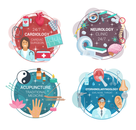 Cardiology, neurology or otorhinolaryngology and acupuncture medicine icons. Vector cardiologist, neurologist or otolaryngology doctors with medical pills and health treatments