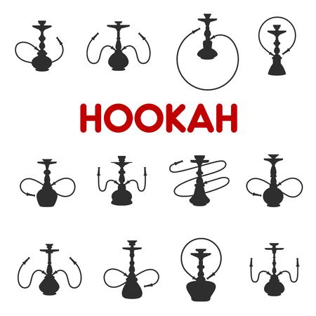 Icônes de silhouette de narguilé ou chicha. Ensemble isolé de vecteur de pipes à fumer du tabac arôme oriental pour la conception de menus de bar-salon et de restaurant