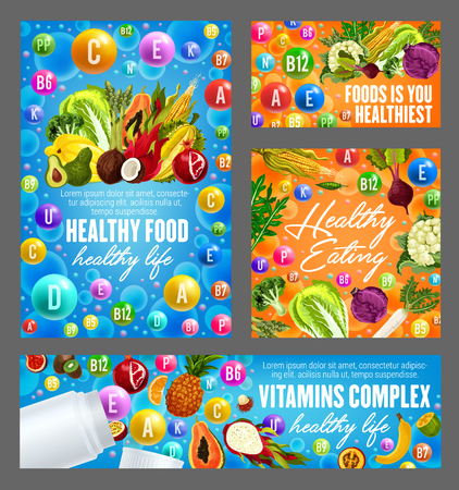 Vitamins and minerals pills for healthy food nutrition. Vector posters of multivitamins in fruits, vegetables, nuts and salad of avocado, papaya or orange and coconut with hazelnut and beans Illustration