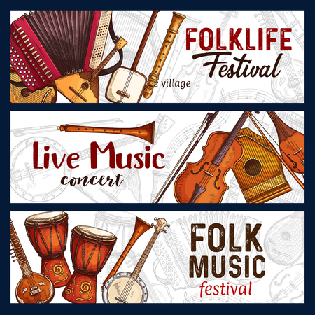 Folk music festival sketch banners of traditional musical instruments. Vector design of zither, American banjo guitar or flute and reed pie with Japanese shamisen and Indian sitar for live concert