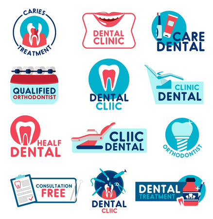 Dental clinic icons for dentistry surgery and health consultation. Vector design of dentist teeth treatments, implants and orthodontic medical braces, smile with toothpaste and toothbrush Foto de archivo - 107746135