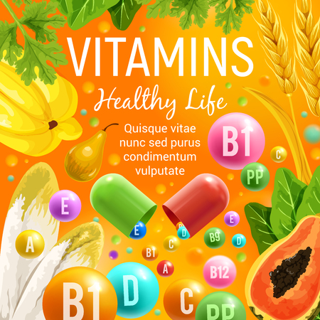 Vitamins in healthy food fruits, vegetables and salads. Vector poster of multivitamin pills and capsules in tropical papaya, chicory lettuce or parsley and wheat or rye cereals