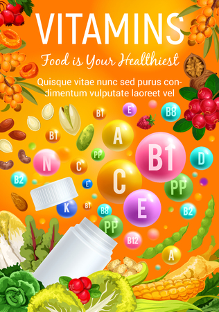 Vitamins in healthy food fruits, vegetable salads, nuts and berries. Vector poster of multivitamin pills and capsules in corn, cranberry or broccoli and pistachio, beans and chicory or walnut