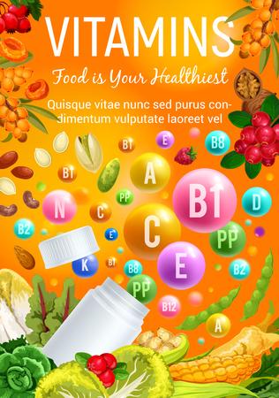Vitamine in frutta cibo sano, insalate di verdure, noci e bacche. Manifesto di vettore di pillole e capsule multivitaminiche in mais, mirtillo rosso o broccoli e pistacchio, fagioli e cicoria o noce