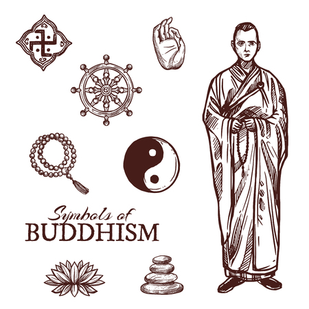 Buddhism religion sketch symbols. Vector icons of Buddha hand and Buddhist monastery monk with beads, Dharma wheel or Yin Yang and lotus flower, Zen stones and religious signs Standard-Bild - 107746172