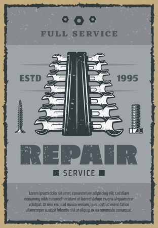 Repair service vintage old poster of construction and home renovation work tools. Vector retro design of spanner and wrench in toolbox, woodwork screws and carpentry bolts or nuts