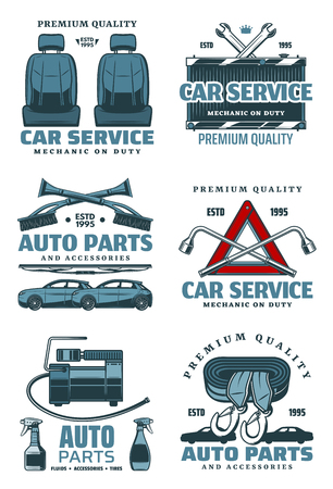 Car service and auto repair station icons. Vector isolated set for spare parts store or mechanic garage, tire pump or windshield scrapes and spanners, accumulator or radiator and driver seats Illustration