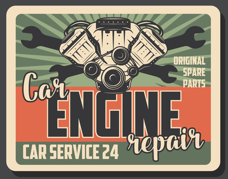 Car engine repair retro poster for garage station or mechanic service. Vector vintage design of motor valve spare parts, wrench or spanner for automobile repair