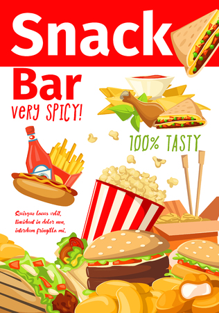 Fast food poster of fastfood snacks for cafe, restaurant or bistro menu. Vector cheeseburger or hot dog sandwich and hamburger, Chinese noodles or chicken nuggets with fries and popcorn Stock Vector - 110288579