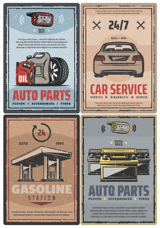 Car and auto service retro posters. Vector vintage design for mechanic repair and petrol or gasoline station, garage alarm security installation, tire fitting and spare parts store Illustration