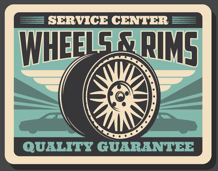 Auto-Service-Center Retro-Poster für Mechaniker oder Werkstatt. Vektor-Vintage-Design zum Pumpen und Montieren von Reifen mit Qualitätsgarantie-Werbung oder Ersatzteilgeschäft