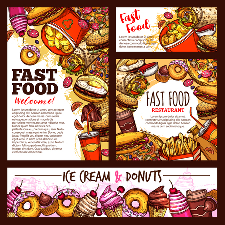 Fast food sketch posters and banners of fastfood snacks or drinks for cafe, restaurant or bistro menu. Vector cheeseburger or hot dog sandwich and hamburger, chicken nuggets with fries and donuts