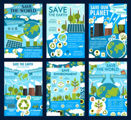 Poster Save Earth per la protezione dell'ecologia e la conservazione dell'ambiente. Pannelli solari e mulini a vento di energia verde vettoriale in natura ecologica o inquinamento atmosferico del pianeta con centrali elettriche ed emissioni di CO