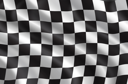 Autorennen oder Auto-Rallye-Flagge 3D. Vektor karierter Hintergrund der wellenförmigen Sportflagge mit Schachbrettmuster für Fahrrad- oder Motocross-Rennen oder Meisterschaftsdesign