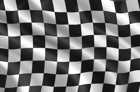 Gare automobilistiche o bandiera 3D di rally automobilistico. Sfondo vettoriale a scacchi di bandiera sportiva ondulata con motivo a scacchiera per la competizione di gare di bici o motocross o il design del campionato