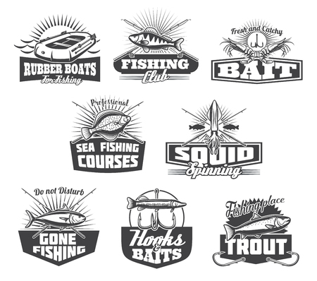 Fishing club or fisher store icons. Vector isolated set of fisherman tackles, rod or rubber boat for fish and seafood catch of octopus, flounder or shrimp prawn and river pike or sea tuna on hook