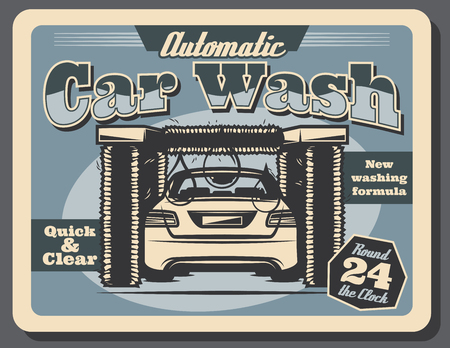 Car wash service retro poster for automatic auto washing station. Vector vintage blue grunge design of modern car and rotating brushes for automobile quality cleaning