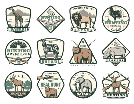 Hunting club icons of wild animals for African safari and open season hunt. Vector badges for hunter society giraffe, lion or rabbit and pheasant bird, zebra or bear and hippopotamus with elephant