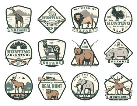 Iconos del club de caza de animales salvajes para safari africano y caza de temporada abierta. Insignias vectoriales para la sociedad de cazadores jirafa, león o conejo y pájaro faisán, cebra u oso e hipopótamo con elefante Ilustración de vector