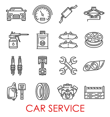 Car service thin line art icons for auto mechanics and repair. Vector automobile spare parts of brakes, engine valves and exhaust pipe, tire wheels and accumulator with wrench and spanner tools